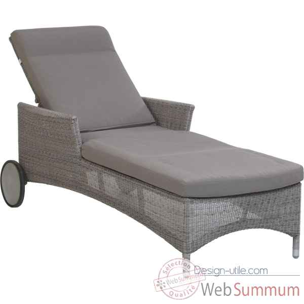 Chaise longue Atoll Resine Galet avec coussin tissus gris KOK 860H