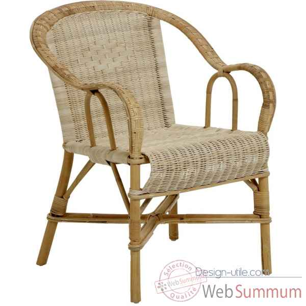 Ensemble 2 fauteuils bac dossier Grand Pere sans filets de couleurs - naturel KOK 978