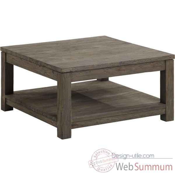 Table basse carr e mm drift teck recycl gris bross kok for Table basse ceruse gris
