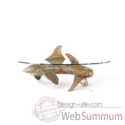 Table basse le requin en resineux verre trempe, bord poli Lasterne -MRE105-R