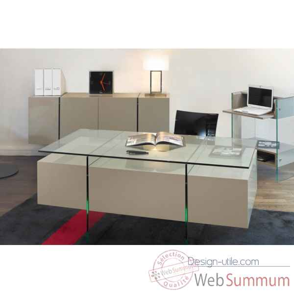Bureau laque & verre Marais International -LUX470LB