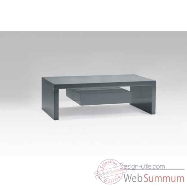 table basse laqu e gris avec tiroirs marais international de meuble design marais. Black Bedroom Furniture Sets. Home Design Ideas