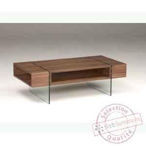 936c41b9f6c3ba Table basse rectangulaire caisson en mdf plaque noyer - pied verre trempe  LUX165WN