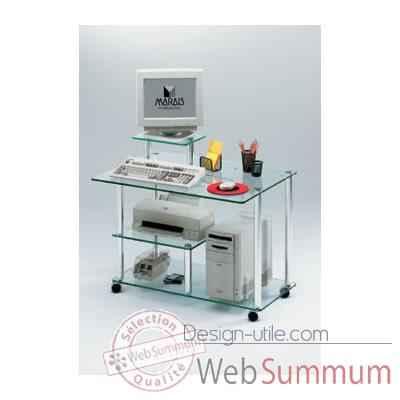 Meuble ordinateur marais sur roulettes dans bureau design for Meuble bureau ordinateur design