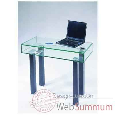 Petit bureau ordinateur marais en verre tremp zefordi for Petit bureau design