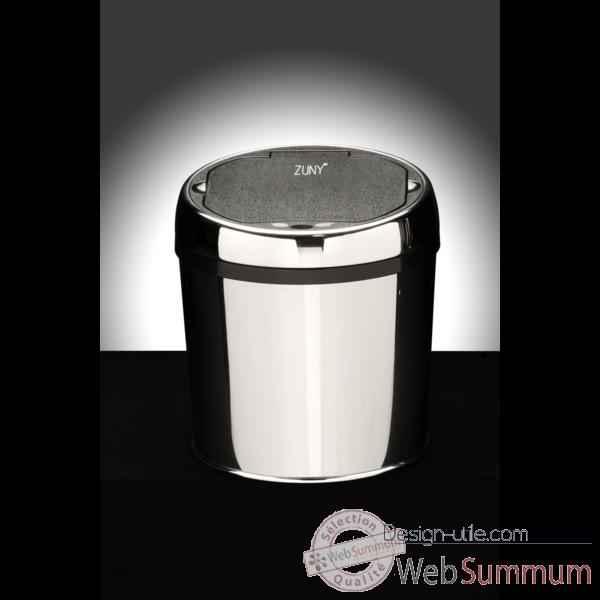 Poubelle design zuny automatique ronde inox brillant zny 6l for Poubelle de table design