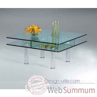 Table basse carr e marais en verre tremp ct80 dans table - Table basse design en verre trempe ...