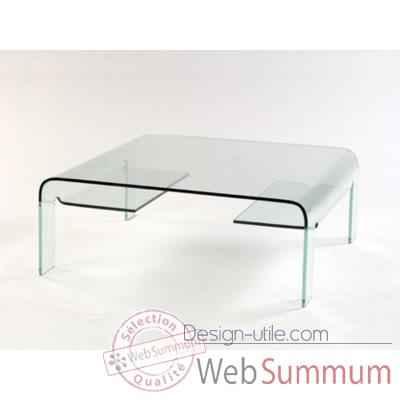 Table basse marais pont carr e en verre bomb dans table - Table basse pont en verre ...