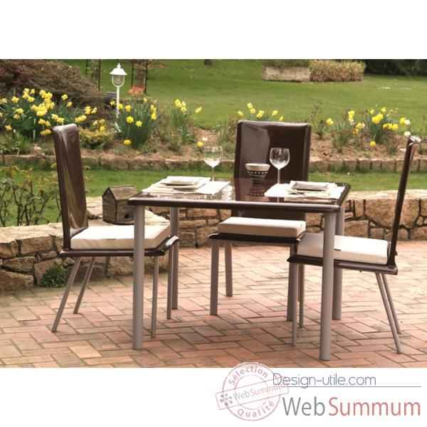 Table carree Art Mely pieds inox -AM002