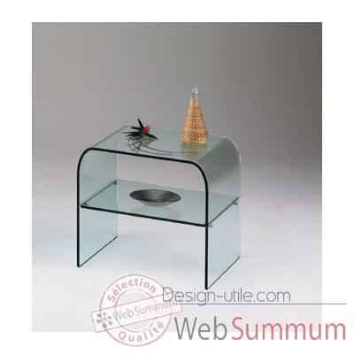 Gu ridon marais en verre avec plateau inf rieur rouge de - Table de chevet en verre ...