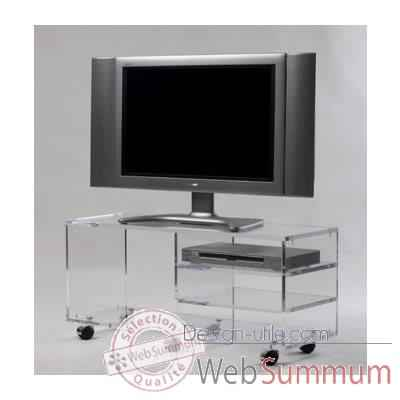 Table t l 90x40x25 marais pour cran plat en verre tremp for Table pour tele