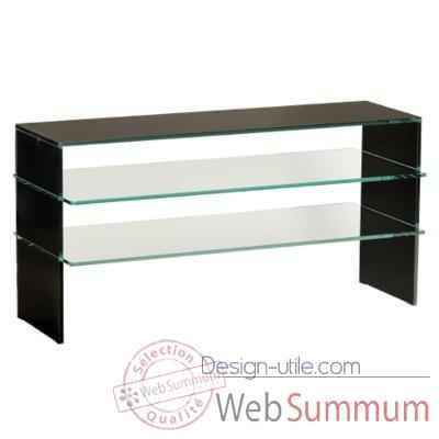 Table t l 100x40x50 marais pour cran plasma en verre de for Table tele en verre