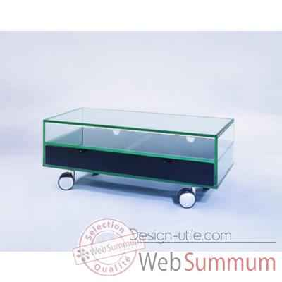 Table t l 90x40x36 marais pour cran plat en verre tremp for Table tele verre