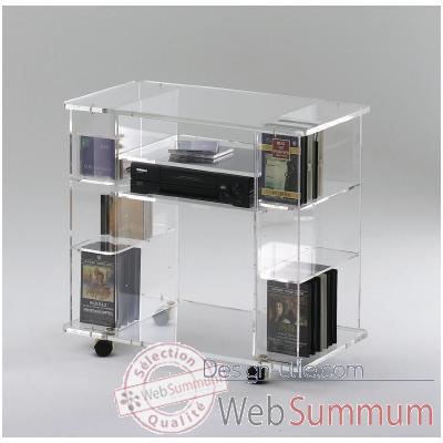 Table tele 80x45x74.5 Marais Hifi Video en PMMA -MT90
