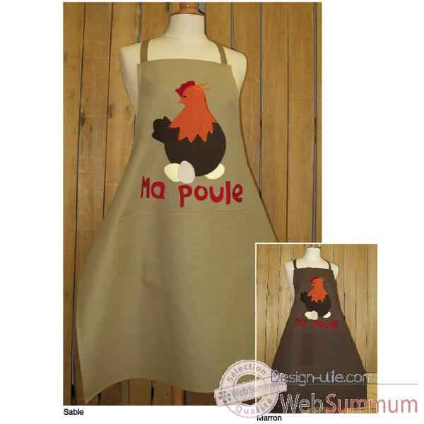 Tablier de cuisine Alma Mater ma poule application -taba2383marron