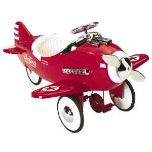 Porteur avion en metal a pedales rouge sky king AF-006