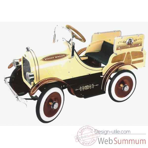 Voiture a pedales en metal deluxe deluxe woody wagon creme G-053